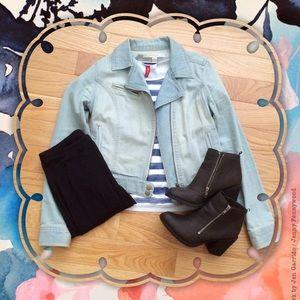 LC Lauren Conrad Jackets & Blazers - Light Denim Moto Jacket