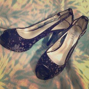 "Sequin ""Guess"" open toed black high heels."