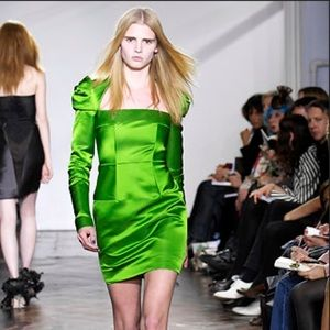 GILES DEACON runway green silk dress