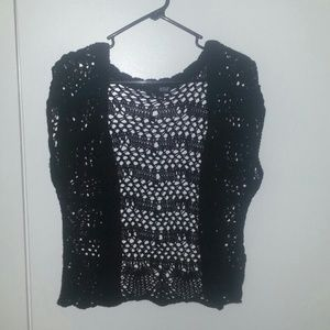 a.n.a. black knit open sweater L