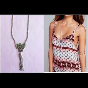 Jewelry - NWT long silver fringe tassel pendant necklace