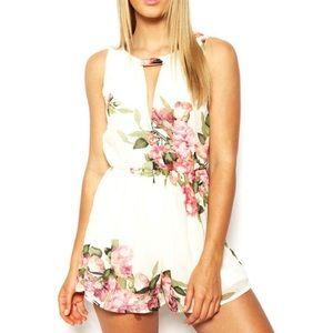 Pants - NEW Floral Chiffon V-Neck Open Front/Back Romper