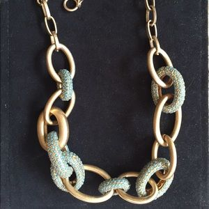Gold and turquoise chain link necklace