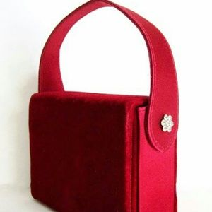 Velvet Ruby Red Evening Bag Rhinestone Buttons