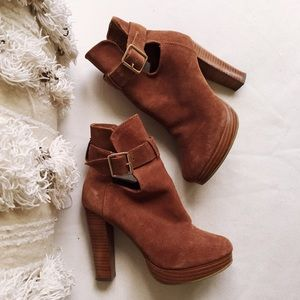 H&M Shoes - H&M Real Suede Booties 🔥 w/ Stacked Wood Heel
