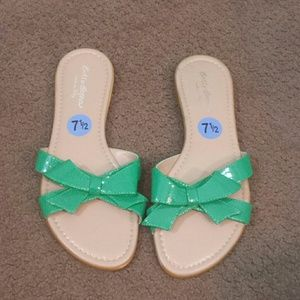 Sotto Sopra Shoes - Green bow slide sandal