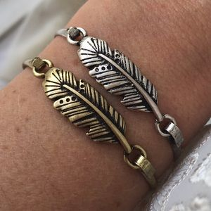 2/$20 Antiqued Gold Tone Feather Bracelet