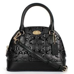 Coach mini cora domed in debossed leather