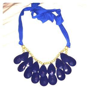 Blue teardrop statement necklace