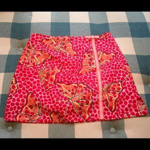 Lilly Pulitzer Coral Pink Butterfly Print Skirt