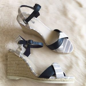 Sperry Top-Sider Shoes - Navy & White Stripe Canvas & Leather Strap Wedges