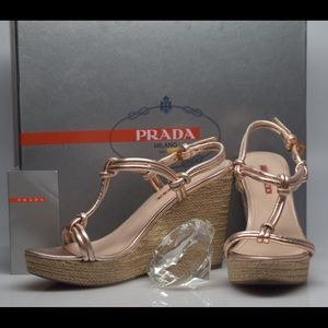 Prada Metallic Leather Wedge Champagne 7 37