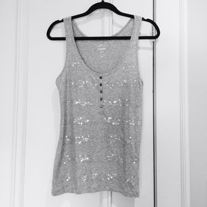 Old Navy Tops - Essential Grey Striped Sequin Tank Top
