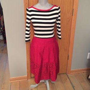 Red loft skirt, and gap striped shirt