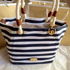 NWT MICHAEL KORS Marina grab bag satchel tote navy