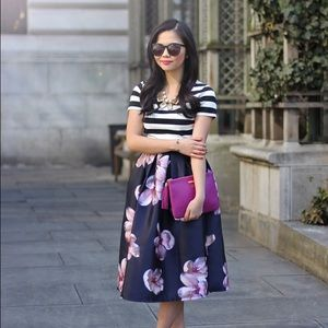 Chicwish Dresses & Skirts - Navy and Pink Floral Midi Skirt