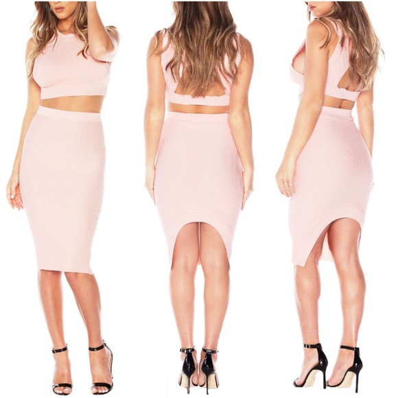 7362c38fc Skirts | Large Blush Pink 2 Piece Set Crop Top Pencil Skirt | Poshmark