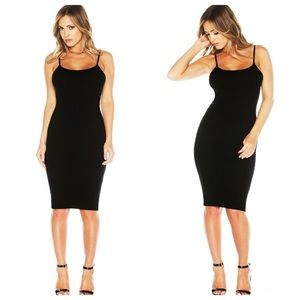 Large ribbed black spaghetti strap bodycon dress