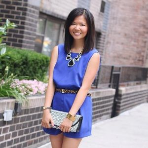 Dresses - FINAL MARKDOWN: Blue Romper with Lace Back