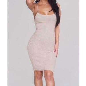 Large ribbed nude mocha bodycon knit dress