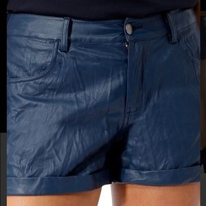 Navy faux leather shorts
