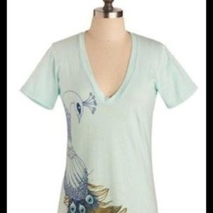 Turquoise Peacock ModCloth Shirt Size M