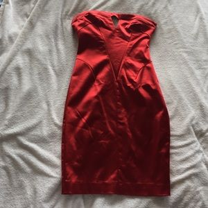 Red strapless keyhole dress