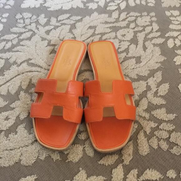 f61198afecf6 Hermes Shoes - Hermes Oran sandals sz 37 7 orange