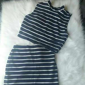 Dresses & Skirts - 2-Piece Navy Blue & White Dress Set
