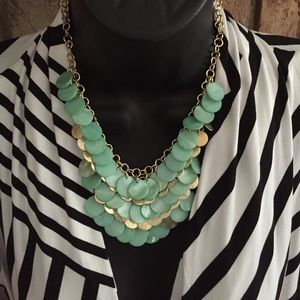 Mint/gold statement necklace! New!