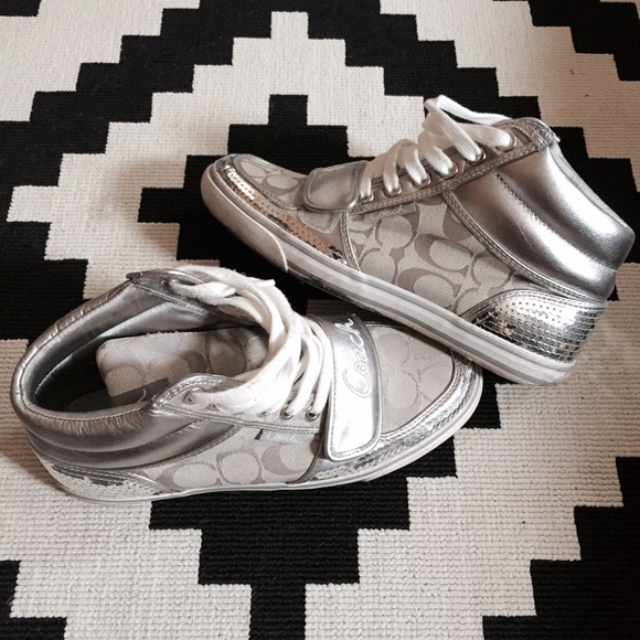 Coach Shoes   Silver Sequin High Tops
