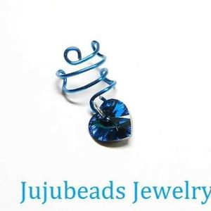 Blue crystal heart ear cuff earring