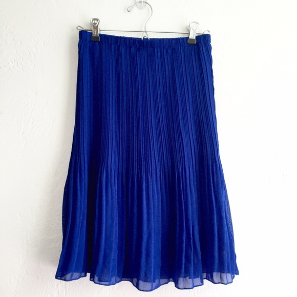 46 dresses skirts royal blue pleated midi skirt
