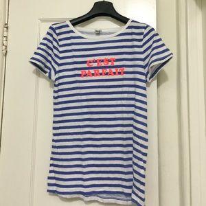 """J Crew """"C'est Parfait"""" blue & white striped T."""