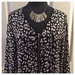 Tops - Black & White Printed Sheer Blouse NWOT
