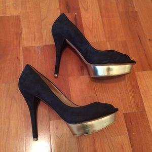 Zara black suede peep toe heels with gold platform