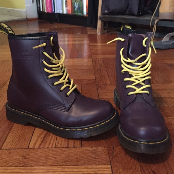 Purple Dr. Martens with Yellow Laces