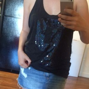 PINK brand black tank top with sequin 'P'