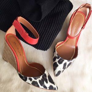 Enzo Angiolini Shoes - Leather & Leopard Print Espadrille Wedges