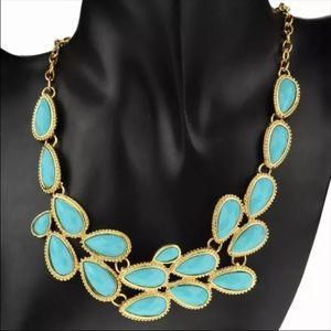 Tear drop statement necklace baby blue