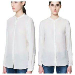 {zara} crepe blouse with braided shoulder epaulets