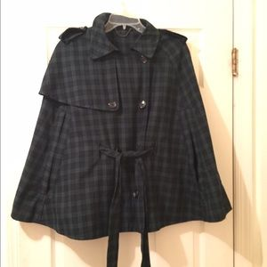 Topshop tartan plaid belted cape poncho.
