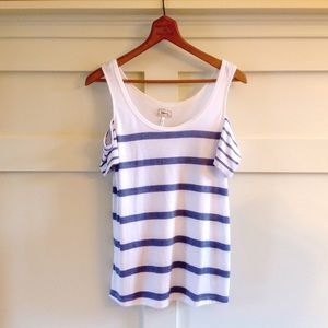 Tops - Kira open shoulder blue/white border tops tee