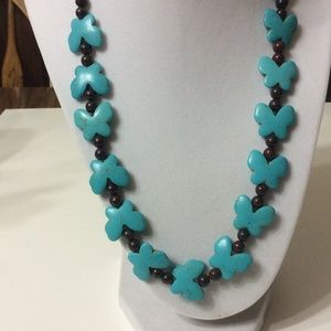 Jewelry - Turquoise butterfly's and jasper bead necklace