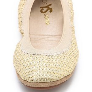Yosi Samra Braided Metallic Gold Ballet Flats