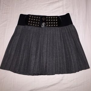 Grey Pleated Skater Skirt Size Small