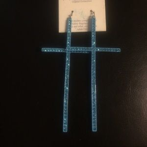 Jewelry - Cross earrings - light blue