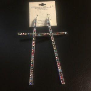 Jewelry - Cross Earrings - Multicolored