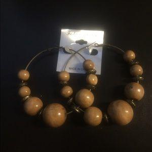 Jewelry - Hoop Earrings-Tan