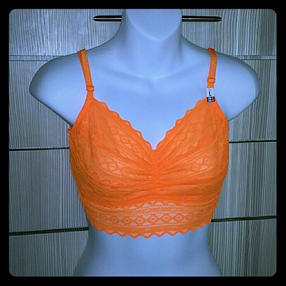 752dbe9e17 PINK VS lace bralette   neon orange